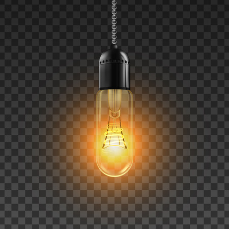 Light Bulb Vector. Shiny Illuminated Light Bulb Symbol. Energy Ray. 3D Realistic Transparent Illustration