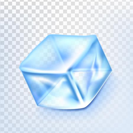 Ice Cube Isolated Transpatrent Vector. Fresh Piece. Square Bright Aqua Symbol. Realistic Illustration Illustration