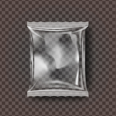 Plastic Snack Packaging Vector. Transparent Pillow Bag Wrap. Empty Product Polyethylene Mock Up Template. Nylon Doy Pack Branding Package Illustration 向量圖像