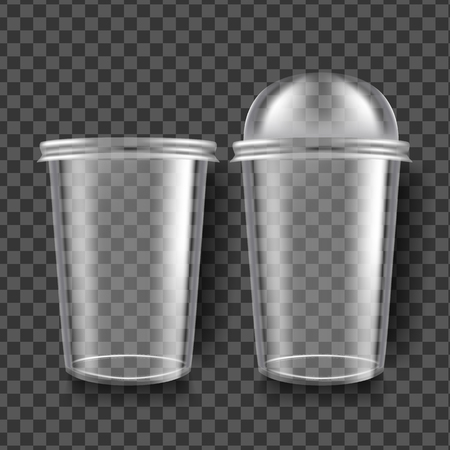 Plastic Cup Vector. Transparent Sphere Dome Cup. Empty Product Polyethylene Mock Up Template. Branding Package Illustration