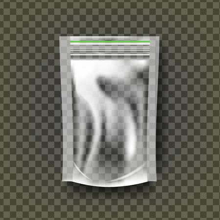Plastic Zipper Vector. Transparent Zip Wrap. Empty Product Polyethylene Mock Up Template. Nylon Doy Pack Branding Package Illustration