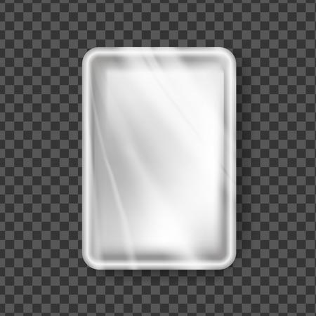 Kunststoffschale Vektor. Transparente Verpackung für Lebensmittelbehälter. Leere Produkt-Polyethylen-Mock-Up-Vorlage. Abbildung des Nylon-Doy-Pack-Branding-Pakets