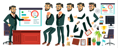 CEO Business Man Character . Working Bearded CEO Male. Modern Office Workplace. Chief Executive Officer, General, Colonel, Capital. Animation Set. Face Emotions. Cartoon Illustration 写真素材