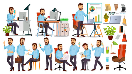 Boss Character . CEO, Managing Director, Representative Director. Poses, Emotions. Boss Meeting. Cartoon Business Illustration