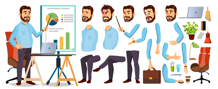 Boss Business Man Character . Working Bearded CEO Male. Start Up. Modern Office Workplace. Chief Executive Officer, General, Colonel, Capital. Animation Set. Face Emotions. Cartoon Illustration