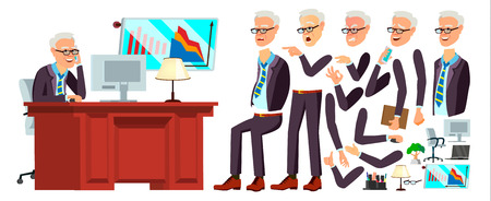 Old Office Worker . Face Emotions, Various Gestures. Animation. Businessman Human. Modern Cabinet Employee, Workman, Laborer. Isolated Flat Cartoon Character Illustration