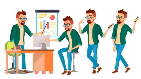 Business Man Character . Hipster Working Male. Environment Process. Start Up. Casual Clothes. Worker. Full Length. Programmer, Manager. Expressions. Flat Business Character Illustration