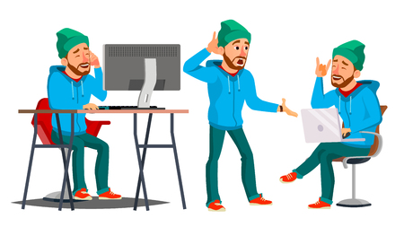Business Man Character . Working Man. Bearded. Environment Process Creative Studio. Male Worker. Full Length. Designer. Poses, Face Emotions, Gestures. Cartoon Business Illustration