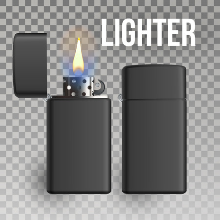 Lighter Vector. Fuel Tool. Smoke Sign. Burning. 3D Realistic Lighter Icon Illustration