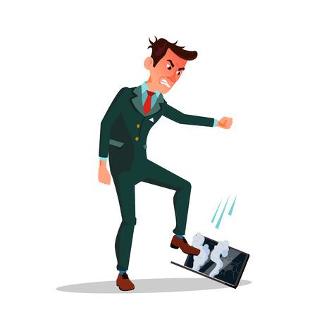 Angry Businessman Treading His Laptop Vector Cartoon Illustration