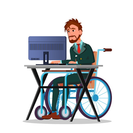 Businessman In A Wheelchair Working Behind A Laptop Vector Cartoon Illustration