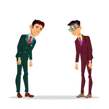 Two Asian Japanese Businessmen Bowing To Each Other Vector Cartoon Illustration