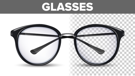 Woman Female Glasses Vector. Black Classic Eyewear Glasses. Vision Optical Lens. Transparent 3D Realistic Illustration