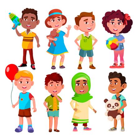 Vettore. Gruppo multinazionale di bambini. Illustrazione Vettoriali