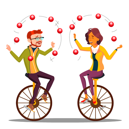 Juggling People Vector. Man, Woman Juggling On Unicycle. Illustration Illustration