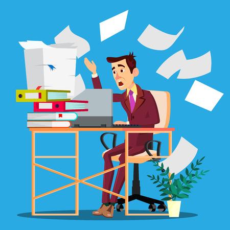 Overloaded Manager Concept. Overloaded Businessman Worker. Vector. Sad Employee. Overworked Illustration