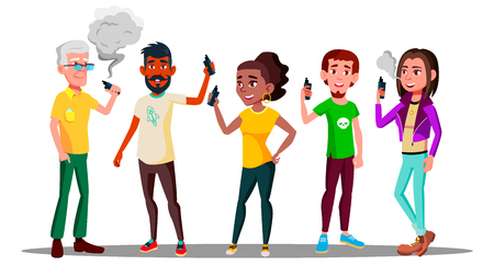 Vape People Vector. Person With Vaporizer Vaping Together. Hipster Addiction. Cloud. Illustration Zdjęcie Seryjne - 120022312