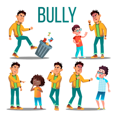 Bully Child Vector. Angry Bully Kid. Teenager Victim. Sad Boy, Girl Child. Illustration