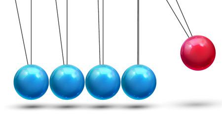 Pendulum Vector. Classic Pendulum With Metall Balls. Physics Motion. Business Leadership. Illustration