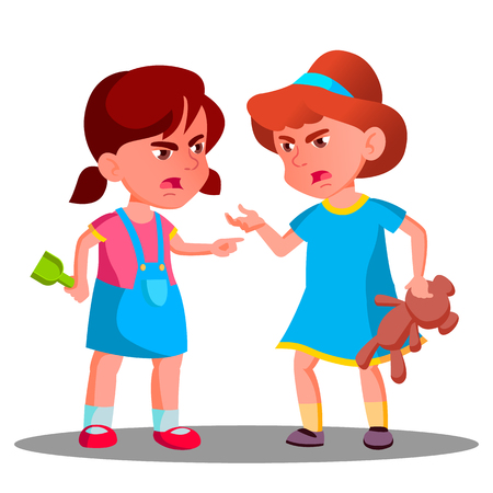 Argue Child Girls Vector. Argue People Concept. Quarrel Person On Playground. Conflict Problem. Illustration Vector Illustration