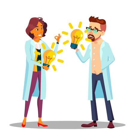 Erfinder Mann, Frau Vektor. Wissenschaftler oder Geschäftsperson Erfinder. Erfolgsillustration