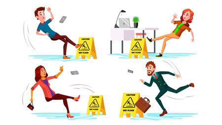 Slippery Concept Vector. Wet Slippery Floor. Slip People And Fall On. Illustration Illustration