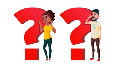 People Asking Question Vector Cartoon Characters Set. Question Mark Symbol Isolated Clipart. Puzzled Man And Woman Talking On Mobile Phone. Confused Young Girl And Boy Doubting Flat Illustration