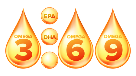 Omega Fatty Acid, EPA, DHA Vector Drops Set. Omega Three, Six And Nine Isolated Cliparts Pack. Natural Fish, Plants Oil. Healthy Food Supplements Collection. Organic Vitamin, Nutrient 3D Illustration Ilustração