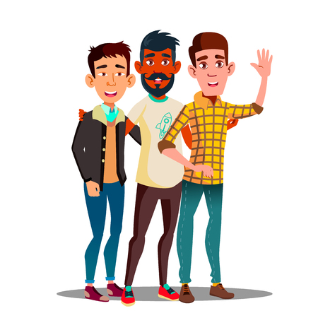 Brotherhood, Multiethnic Male Friends Vector Cartoon Characters. Brotherhood, Friendship Clipart. Asian, Dark Skin, European Guys Together. Unity In Diversity. International Students Flat Illustration 矢量图像