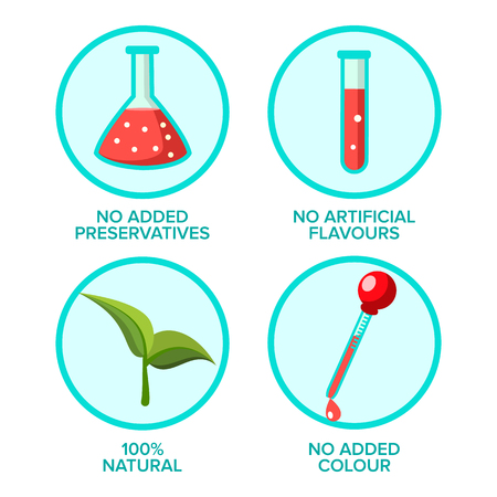Preservatives Free, Natural Product Vector Stickers Set. No Added Preservatives, Artificial Flavours Goods. Eco, Organic, Healthy Food Patches Pack. Ecology Friendly Supplements Flat Illustration