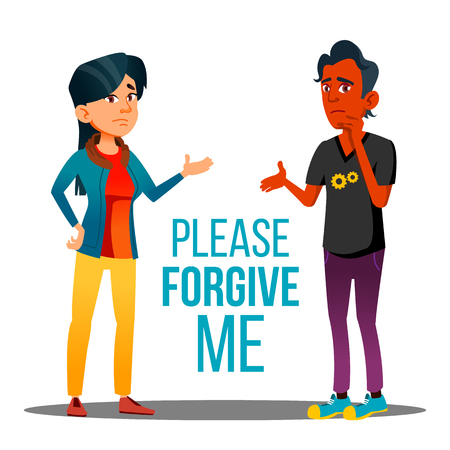 Man And Woman Asking Forgiveness Vector Cartoon Poster. Please Forgive Me Typography. Dark Skin Male And Asian Female Characters Arguing. People Talking, Communicating, Apologizing Flat Illustration Vektoros illusztráció
