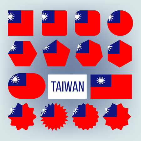 Taiwan Various Shapes Vector National Flags Set. Circle, Square, Rectangle Taiwan Ensign Pack. Republic Of China Official Emblems Icons Collection. Asian Country Symbols Flat Illustration