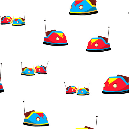 Bumper Car Seamless Pattern Vector. Amusement Park. Activity. Drive. Cute Graphic Texture. Backdrop. Cartoon Colorful Background Illustration
