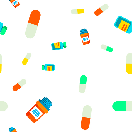 Pill Seamless Pattern Vector. Medical Vitamin. Doctor. Tablet, Drug Capsule. Cute Graphic Texture. Textile Backdrop. Colorful Background Illustration