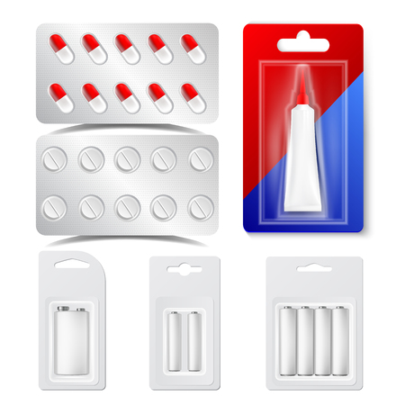 Drugs, Pills, Blisters, Batteries Vector Realistic Set. Glue Tube In Shiny Silver Blisters Isolated Cliparts Set. Antibiotics Capsules. Pharmacy, Medicine Packaging 3D Illustration