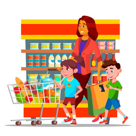 Mother With Children Shopping in Hypermarket Vector Characters. Cartoon Family Shopping In Grocery Shop. Mall, Supermarket. Buyers Carrying Bags Drawing. Mom And Kids Buying Food Flat Illustration Vettoriali