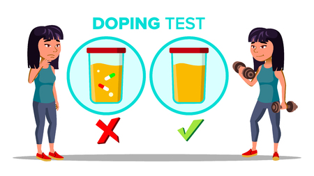 Doping, Drug Test Cartoon Vector Banner Template. Laboratory, Lab Doping Testing Isolated Clipart. Sportswoman Lifting Weights. Urine Samples. Female Character Training, Exercising Flat Illustration