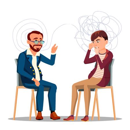 Paciente en consejería de psiquiatría, personaje de dibujos animados de psicoterapia. Terapia, consejería Clipart aislado. Consulta de Psicología. Psiquiatra ayudando al hombre con problemas mentales Ilustración plana