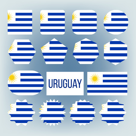 Uruguay National Colors, Insignia Vector Icons Set. Uruguay State Flag, South American Country Official Symbolics. Blue And White Patriotic Banner. Uruguayan Traditional Emblem Flat Illustration  イラスト・ベクター素材