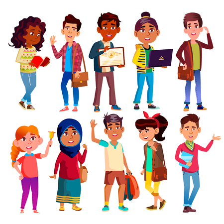 Highschool Pupils, Teenagers Vector Cartoon Characters Set. Highschool Lifestyle, International Education, Happy Boys And Girls. Smiling College Friends, University Students Flat Illustrations Pack  イラスト・ベクター素材