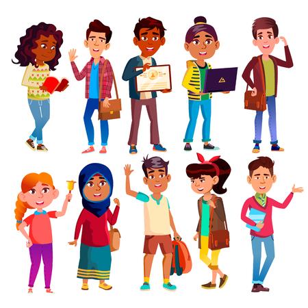 Highschool Pupils, Teenagers Vector Cartoon Characters Set. Highschool Lifestyle, International Education, Happy Boys And Girls. Smiling College Friends, University Students Flat Illustrations Pack Illusztráció