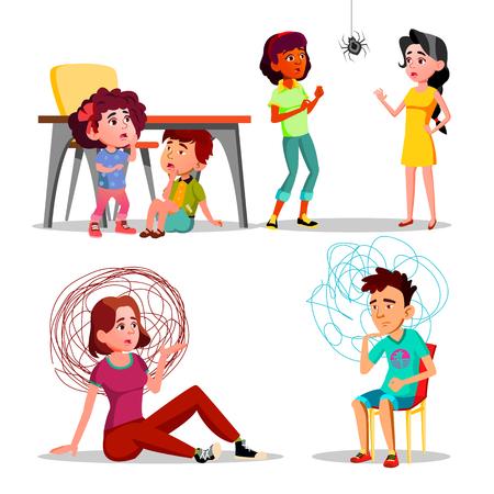 Fobia, ansia, attacco di panico, insieme di vettore di depressione. Persone spaventate e stressate con personaggi dei cartoni animati di fobia. Bambini che si nascondono sotto il tavolo. Aracnofobia, confuso uomo e donna illustrazioni piatte Vettoriali
