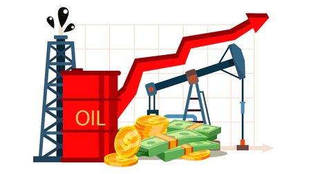 Petroleum Cost Inflation, Oil Industry Vector Banner. Price Inflation, Increase Graph. Stock Market Growth, Rising Dollar Value. Financial Literacy. Petrol Refinery, Production Flat Illustration