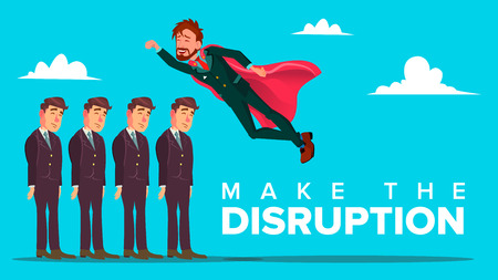 Make Disruption Creative Thinking Vector Banner Concept. Disruption from Ordinary, Business Innovation. Cheerful Businessman, Innovator Cartoon Character. Leadership Flat Illustration