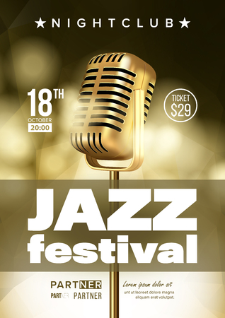 Jazz Improvisation Festival Flyer, Brochure Vector Template. Music Improvisation Concert Announcement, Promo Banner. Nightclub Entertainment Evening Playbill Concept. Microphone Realistic Illustration