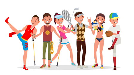 Summer Sports . Set Of Players In Boxing, Hiking, Basketball, Volleyball, Golf, Baseball Isolated Cartoon Illustration