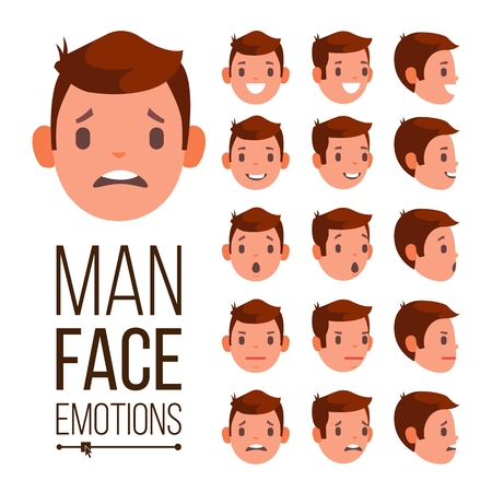 Man Emotions . Young Male Face Portraits. Sadness, Anger, Rage, Surprise, Shock Isolated Flat Cartoon Illustration Stock Photo