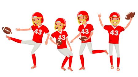 American Football Young Man Player . Red White Uniform. Stadium Football Game. Man. Flat Athlete Cartoon Illustration Stock Photo
