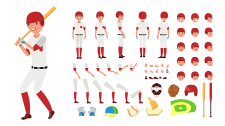 Baseball Player . Animated Character Creation Set. American Base Ball Tools And Equipment. Full Length, Front, Side, Back View, Accessories, Poses, Face Emotions. Isolated Flat Cartoon Illustration Imagens