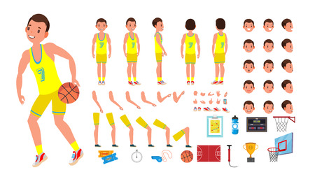 Basketball Player Male . Animated Character Creation Set. Basketball Player Man. Full Length, Front, Side, Back View, Accessories, Poses, Face Emotions. Isolated Cartoon Illustration